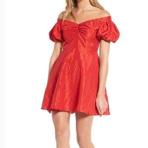 Topshop Red Puffy Sleeve Taffeta 80s Prom Dress